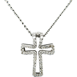 14K White Gold 1.00cttw H-SI Round Diamond Religious Cross Pendant Necklace-18""