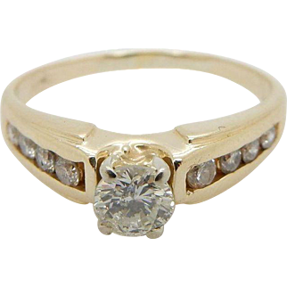 14K Yellow Gold 0.50ct H-SI Round Diamond Solitaire w/Accents Engagement Ring