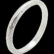 Solid Vintage Platinum 2mm Ornate Wedding Band Ring Sz 5.75