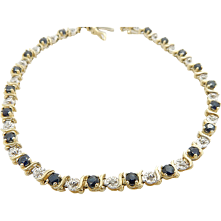 14K Yellow Gold 0.50ctw Round Blue Sapphire w/Diamond Accents Tennis Bracelet-7""
