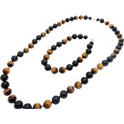 Vintage 14K Yellow Gold 8mm Tigers Eye & Onyx Beaded Necklace and Bracelet Set