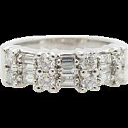 Solid 14K White Gold 0.55cttw G-VS Round & Baguette Diamond Wedding Ring Sz 5.75