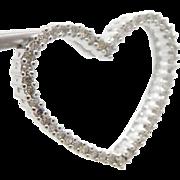 Solid 10K White Gold 0.50cttw H-SI Round Diamond Open Heart Pendant