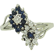 14K White Gold 0.50cttw Round Diamond & Blue Sapphire Cocktail Ring Sz 5.75