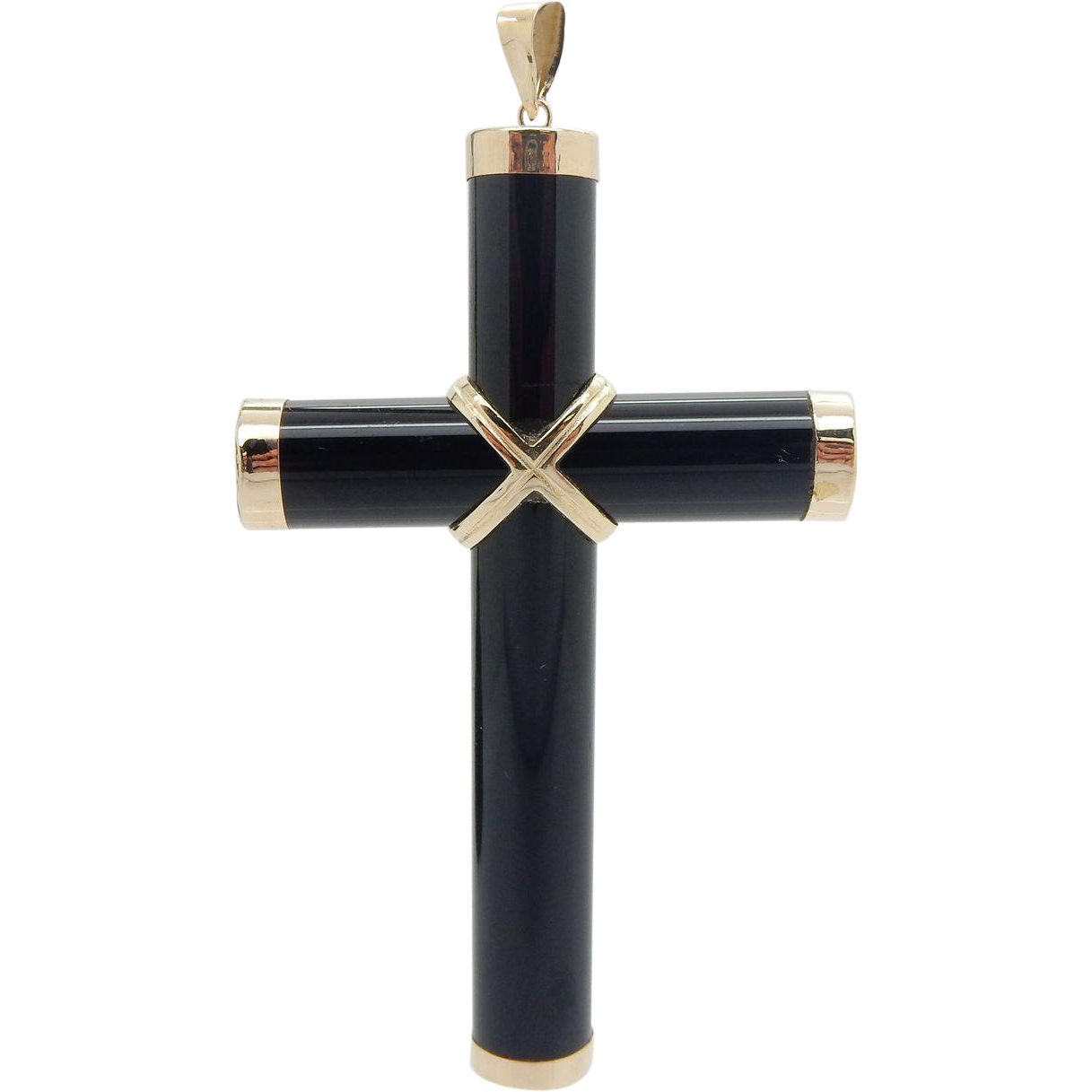 Solid 14k Yellow Gold Black Onyx Religious Cross Pendant