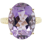 Solid 10K Yellow Gold 10.00ct Oval Amethyst Solitaire Cocktail Ring Sz 8.5