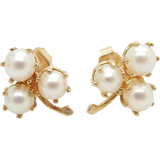 Solid 14K Yellow Gold Natural Pearl Flower Stud Earrings, Butterfly Fastening