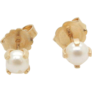 Solid 14K Yellow Gold 4mm Natural Pearl Stud Earrings, Butterfly Fastening
