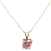 """Solid 14K Yellow Gold 1.15cttw Pink Heart Topaz w/Diamond Accent MOM Pendant Necklace-16"""""""