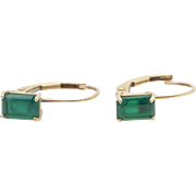 Solid 10K Yellow Gold Emerald Cut Synthetic Green Emerald Leverback Earrings