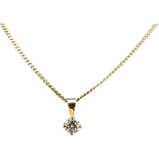 "14K Yellow Gold 0.15ct H-VS2 Round Brilliant Diamond Solitaire Necklace-20"""
