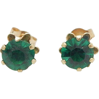 Solid 14K Yellow Gold Round Synthetic Green Emerald 6 Prong Stud Earrings