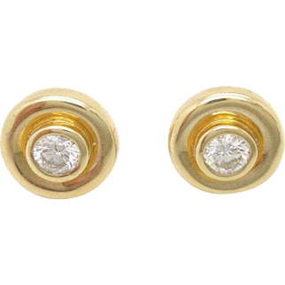 Solid 14K Yellow Gold 0.50cttw G-VS Round Diamond Bezel Stud Screwback Earrings