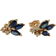 14K Yellow Gold 0.25cttw Marquise Cut Sapphire w/Diamond Accents Stud Earrings