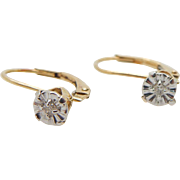 Solid Vintage 10K Yellow Gold 0.02ct Round Diamond Leverback Earrings