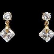 Solid 14K Yellow Gold 3.00cttw Cubic Zirconia Dangle Drop Stud Earrings