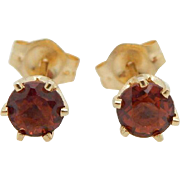 Vintage 14K Yellow Gold 0.50cttw Round Red Garnet 6-Prong Stud Earrings