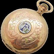 HAMILTON 14K Tri-Color Gold Filled 993, 21j, Railroad Full Hunter Pocket Watch Brotherhood of Locomotive, Firemen & Enginemen-SERVICED