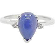 Solid 14K White Gold Star Sapphire Solitaire w/0.02ctw Diamond Accents Engagement Ring