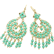 Solid Vintage 18K Yellow Gold Round Turquoise Dangle Chandelier Leverback Earrings