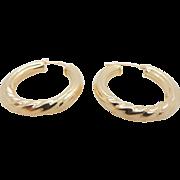 Solid Vintage 14K Yellow Gold Hoop Leverback Earrings
