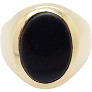 Solid Vintage 10K Yellow Gold Oval Black Onyx Band Mens Ring Sz 10