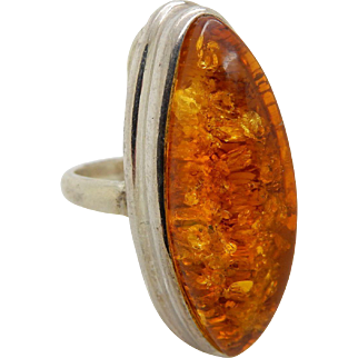 Vintage Solid Sterling Silver/925 Natural Yellow Baltic Amber Cocktail Ring-7.75