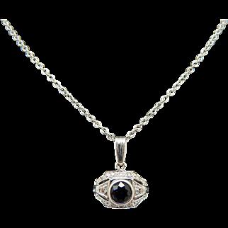 "14K White Gold 0.65cttw Round Sapphire & Diamond Accents Filigree Necklace-18"""
