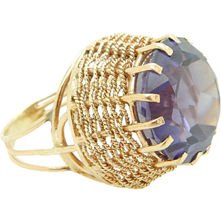 Solid Vintage 14K Yellow Gold 20ct Round Amethyst Basket Cocktail Ring Sz 7.75