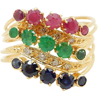 Solid Vintage 22K Yellow Gold 1.50cttw Sapphire, Emerald, Ruby w/Diamonds Accents Wavy Band Ring Sz 7