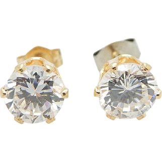 Solid 14K Yellow Gold 1.70cttw Round Cubic Zirconia 4 Prong Stud Earrings