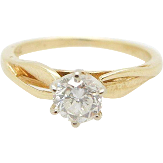 14K Yellow Gold 0.35ct G-VS2 Round Natural Diamond Solitaire Engagement Ring