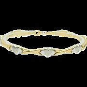 Solid Vintage 14K Two-Tone Gold XOXO Heart Bracelet-7.5; Turkey