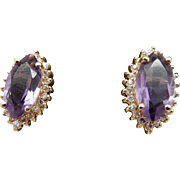 Solid 14K Yellow Gold 8.35cttw Marquise Amethyst & Diamond Accents Stud Earrings