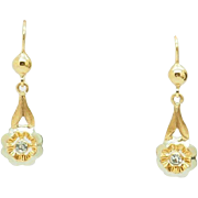Solid Vintage 18K Yellow Gold 0.20cttw Round Cubic Zirconia Dangle Leverback Filigree Earrings