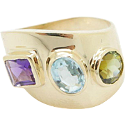Solid 14K Yellow Gold 3-Stone Amethyst, Peridot, Blue Topaz Cocktail Ring Sz 9