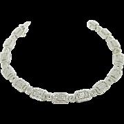 "Solid Vintage Art Deco 10K White Gold 2.00cttw H-SI Round Diamond Filigree Tennis Bracelet-7.25"""
