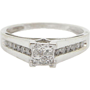 10K White Gold 0.50cttw Princess Cut w/Round Diamond Accents Engagement Ring