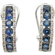 Solid 14K White Gold 1.25cttw Round Sapphire w/H-SI Diamond Accents Huggie Earrings