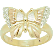 Solid 14K Tri-Color Gold 0.15cttw Cubic Zirconia Butterfly Band Ring