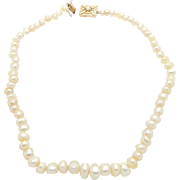 Solid Vintage 14K Yellow Gold Clasp 9mm Natural Freshwater Pearl Necklace-16.25""
