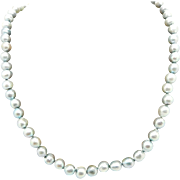 Solid Vintage 14K White Gold Clasp 6mm Grey Freshwater Pearl Necklace-15.5""