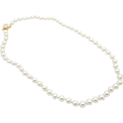 Solid Vintage 14K Yellow Gold Clasp 7mm Natural White Pearl Flower Necklace-18""