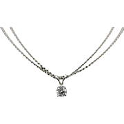 Solid 18K White Gold 0.30ct F-SI2 Round Diamond Solitaire 2 Strand Necklace-17""