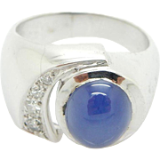 Solid 14K White Gold Star Sapphire w/0.12cttw Diamond Accents Band Ring Sz 6