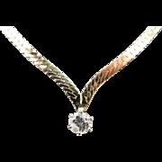 """14K Yellow Gold 0.45ct G-I1 Round Diamond Solitaire Herringbone Necklace-15"""""""