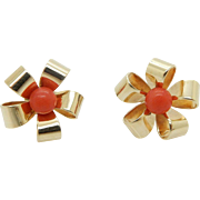 Solid Vintage 14K Yellow Gold Red Coral Flower Stud Earrings-
