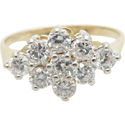 Solid 14K Yellow Gold 0.72cttw Round Cubic Zirconia Cocktail Band Ring Sz 6.25