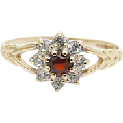 14K Yellow Gold 0.15cttw Synthetic Ruby w/Round Cubic Zirconia Flower Ring Sz 7