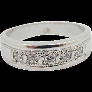 Mens 14K White Gold 0.15cttw G-VS Round Brilliant Diamond Wedding Band Ring Sz 9.5